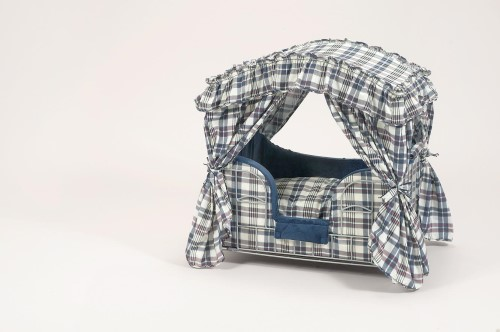 Navy Plaid Dog Canopy Bed