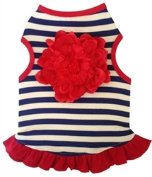Navy & White Stripe Dress with Bold Red Flower  dog bowls,susan lanci, puppia,wooflink, luxury dog boutique,tonimari,pet clothes, dog clothes, puppy clothes, pet store, dog store, puppy boutique store, dog boutique, pet boutique, puppy boutique, Bloomingtails, dog, small dog clothes, large dog clothes, large dog costumes, small dog costumes, pet stuff, Halloween dog, puppy Halloween, pet Halloween, clothes, dog puppy Halloween, dog sale, pet sale, puppy sale, pet dog tank, pet tank, pet shirt, dog shirt, puppy shirt,puppy tank, I see spot, dog collars, dog leads, pet collar, pet lead,puppy collar, puppy lead, dog toys, pet toys, puppy toy, dog beds, pet beds, puppy bed,  beds,dog mat, pet mat, puppy mat, fab dog pet sweater, dog sweater, dog winter, pet winter,dog raincoat, pet raincoat