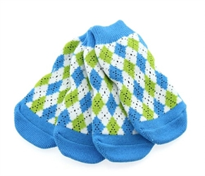 Non Skid Dog Socks - Blue & Green Argyle wooflink, susan lanci, dog clothes, small dog clothes, urban pup, pooch outfitters, dogo, hip doggie, doggie design, small dog dress, pet clotes, dog boutique. pet boutique, bloomingtails dog boutique, dog raincoat, dog rain coat, pet raincoat, dog shampoo, pet shampoo, dog bathrobe, pet bathrobe, dog carrier, small dog carrier, doggie couture, pet couture, dog football, dog toys, pet toys, dog clothes sale, pet clothes sale, shop local, pet store, dog store, dog chews, pet chews, worthy dog, dog bandana, pet bandana, dog halloween, pet halloween, dog holiday, pet holiday, dog teepee, custom dog clothes, pet pjs, dog pjs, pet pajamas, dog pajamas,dog sweater, pet sweater, dog hat, fabdog, fab dog, dog puffer coat, dog winter jacket, dog col