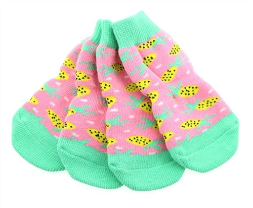 Non Skid Dog Socks - Pineapple wooflink, susan lanci, dog clothes, small dog clothes, urban pup, pooch outfitters, dogo, hip doggie, doggie design, small dog dress, pet clotes, dog boutique. pet boutique, bloomingtails dog boutique, dog raincoat, dog rain coat, pet raincoat, dog shampoo, pet shampoo, dog bathrobe, pet bathrobe, dog carrier, small dog carrier, doggie couture, pet couture, dog football, dog toys, pet toys, dog clothes sale, pet clothes sale, shop local, pet store, dog store, dog chews, pet chews, worthy dog, dog bandana, pet bandana, dog halloween, pet halloween, dog holiday, pet holiday, dog teepee, custom dog clothes, pet pjs, dog pjs, pet pajamas, dog pajamas,dog sweater, pet sweater, dog hat, fabdog, fab dog, dog puffer coat, dog winter jacket, dog col