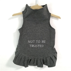 Not to Be Trusted Dog Dress wooflink, susan lanci, dog clothes, small dog clothes, urban pup, pooch outfitters, dogo, hip doggie, doggie design, small dog dress, pet clotes, dog boutique. pet boutique, bloomingtails dog boutique, dog raincoat, dog rain coat, pet raincoat, dog shampoo, pet shampoo, dog bathrobe, pet bathrobe, dog carrier, small dog carrier, doggie couture, pet couture, dog football, dog toys, pet toys, dog clothes sale, pet clothes sale, shop local, pet store, dog store, dog chews, pet chews, worthy dog, dog bandana, pet bandana, dog halloween, pet halloween, dog holiday, pet holiday, dog teepee, custom dog clothes, pet pjs, dog pjs, pet pajamas, dog pajamas,dog sweater, pet sweater, dog hat, fabdog, fab dog, dog puffer coat, dog winter jacket, dog col