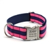 Personalized Collar & Lead Layered Stripe Hot Pink & Navy - fdc-hotpinknavy