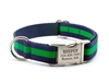 Personalized Collar & Lead Layered Stripe Navy & Emerald