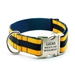 Personalized Collar & Lead Layered Stripe Navy & Yellow Gold - fdc-navyye