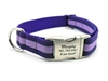 Personalized Collar & Lead Layered Stripe Purple & Lilac wooflink, susan lanci, dog clothes, small dog clothes, urban pup, pooch outfitters, dogo, hip doggie, doggie design, small dog dress, pet clotes, dog boutique. pet boutique, bloomingtails dog boutique, dog raincoat, dog rain coat, pet raincoat, dog shampoo, pet shampoo, dog bathrobe, pet bathrobe, dog carrier, small dog carrier, doggie couture, pet couture, dog football, dog toys, pet toys, dog clothes sale, pet clothes sale, shop local, pet store, dog store, dog chews, pet chews, worthy dog, dog bandana, pet bandana, dog halloween, pet halloween, dog holiday, pet holiday, dog teepee, custom dog clothes, pet pjs, dog pjs, pet pajamas, dog pajamas,dog sweater, pet sweater, dog hat, fabdog, fab dog, dog puffer coat, dog winter jacket, dog col