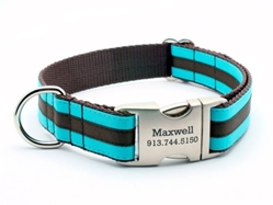 Personalized Collar & Lead Layered Stripe Turquoise & Chocolate wooflink, susan lanci, dog clothes, small dog clothes, urban pup, pooch outfitters, dogo, hip doggie, doggie design, small dog dress, pet clotes, dog boutique. pet boutique, bloomingtails dog boutique, dog raincoat, dog rain coat, pet raincoat, dog shampoo, pet shampoo, dog bathrobe, pet bathrobe, dog carrier, small dog carrier, doggie couture, pet couture, dog football, dog toys, pet toys, dog clothes sale, pet clothes sale, shop local, pet store, dog store, dog chews, pet chews, worthy dog, dog bandana, pet bandana, dog halloween, pet halloween, dog holiday, pet holiday, dog teepee, custom dog clothes, pet pjs, dog pjs, pet pajamas, dog pajamas,dog sweater, pet sweater, dog hat, fabdog, fab dog, dog puffer coat, dog winter jacket, dog col