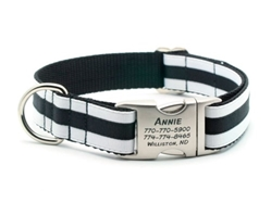 Personalized Collar & Lead Layered Stripe White & Black wooflink, susan lanci, dog clothes, small dog clothes, urban pup, pooch outfitters, dogo, hip doggie, doggie design, small dog dress, pet clotes, dog boutique. pet boutique, bloomingtails dog boutique, dog raincoat, dog rain coat, pet raincoat, dog shampoo, pet shampoo, dog bathrobe, pet bathrobe, dog carrier, small dog carrier, doggie couture, pet couture, dog football, dog toys, pet toys, dog clothes sale, pet clothes sale, shop local, pet store, dog store, dog chews, pet chews, worthy dog, dog bandana, pet bandana, dog halloween, pet halloween, dog holiday, pet holiday, dog teepee, custom dog clothes, pet pjs, dog pjs, pet pajamas, dog pajamas,dog sweater, pet sweater, dog hat, fabdog, fab dog, dog puffer coat, dog winter jacket, dog col