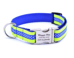 Personalized Collar & Lead Neon Yellow & Royal Blue Mini Polka Dot  wooflink, susan lanci, dog clothes, small dog clothes, urban pup, pooch outfitters, dogo, hip doggie, doggie design, small dog dress, pet clotes, dog boutique. pet boutique, bloomingtails dog boutique, dog raincoat, dog rain coat, pet raincoat, dog shampoo, pet shampoo, dog bathrobe, pet bathrobe, dog carrier, small dog carrier, doggie couture, pet couture, dog football, dog toys, pet toys, dog clothes sale, pet clothes sale, shop local, pet store, dog store, dog chews, pet chews, worthy dog, dog bandana, pet bandana, dog halloween, pet halloween, dog holiday, pet holiday, dog teepee, custom dog clothes, pet pjs, dog pjs, pet pajamas, dog pajamas,dog sweater, pet sweater, dog hat, fabdog, fab dog, dog puffer coat, dog winter jacket, dog col