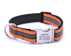 Personalized Collar & Lead Orange & Black Mini Polka Dot  wooflink, susan lanci, dog clothes, small dog clothes, urban pup, pooch outfitters, dogo, hip doggie, doggie design, small dog dress, pet clotes, dog boutique. pet boutique, bloomingtails dog boutique, dog raincoat, dog rain coat, pet raincoat, dog shampoo, pet shampoo, dog bathrobe, pet bathrobe, dog carrier, small dog carrier, doggie couture, pet couture, dog football, dog toys, pet toys, dog clothes sale, pet clothes sale, shop local, pet store, dog store, dog chews, pet chews, worthy dog, dog bandana, pet bandana, dog halloween, pet halloween, dog holiday, pet holiday, dog teepee, custom dog clothes, pet pjs, dog pjs, pet pajamas, dog pajamas,dog sweater, pet sweater, dog hat, fabdog, fab dog, dog puffer coat, dog winter jacket, dog col