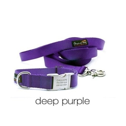 Personalized Collar & Lead in Deep Purple wooflink, susan lanci, dog clothes, small dog clothes, urban pup, pooch outfitters, dogo, hip doggie, doggie design, small dog dress, pet clotes, dog boutique. pet boutique, bloomingtails dog boutique, dog raincoat, dog rain coat, pet raincoat, dog shampoo, pet shampoo, dog bathrobe, pet bathrobe, dog carrier, small dog carrier, doggie couture, pet couture, dog football, dog toys, pet toys, dog clothes sale, pet clothes sale, shop local, pet store, dog store, dog chews, pet chews, worthy dog, dog bandana, pet bandana, dog halloween, pet halloween, dog holiday, pet holiday, dog teepee, custom dog clothes, pet pjs, dog pjs, pet pajamas, dog pajamas,dog sweater, pet sweater, dog hat, fabdog, fab dog, dog puffer coat, dog winter jacket, dog col