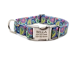 Personalized Colorful Paisley Polyester Collar & Lead  Roxy & Lulu, wooflink, susan lanci, dog clothes, small dog clothes, urban pup, pooch outfitters, dogo, hip doggie, doggie design, small dog dress, pet clotes, dog boutique. pet boutique, bloomingtails dog boutique, dog raincoat, dog rain coat, pet raincoat, dog shampoo, pet shampoo, dog bathrobe, pet bathrobe, dog carrier, small dog carrier, doggie couture, pet couture, dog football, dog toys, pet toys, dog clothes sale, pet clothes sale, shop local, pet store, dog store, dog chews, pet chews, worthy dog, dog bandana, pet bandana, dog halloween, pet halloween, dog holiday, pet holiday, dog teepee, custom dog clothes, pet pjs, dog pjs, pet pajamas, dog pajamas,dog sweater, pet sweater, dog hat, fabdog, fab dog, dog puffer coat, dog winter ja