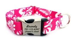 Personalized Hawaiian Pink Polyester Collar & Lead Roxy & Lulu, wooflink, susan lanci, dog clothes, small dog clothes, urban pup, pooch outfitters, dogo, hip doggie, doggie design, small dog dress, pet clotes, dog boutique. pet boutique, bloomingtails dog boutique, dog raincoat, dog rain coat, pet raincoat, dog shampoo, pet shampoo, dog bathrobe, pet bathrobe, dog carrier, small dog carrier, doggie couture, pet couture, dog football, dog toys, pet toys, dog clothes sale, pet clothes sale, shop local, pet store, dog store, dog chews, pet chews, worthy dog, dog bandana, pet bandana, dog halloween, pet halloween, dog holiday, pet holiday, dog teepee, custom dog clothes, pet pjs, dog pjs, pet pajamas, dog pajamas,dog sweater, pet sweater, dog hat, fabdog, fab dog, dog puffer coat, dog winter ja