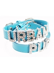 Personalized Leather Dog Collar in Blue
