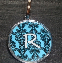 Personalized Pet ID Tag - Blue Damask Initial