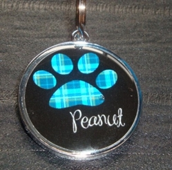 Personalized Pet ID Tag - Blue Plaid Paw