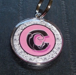 Personalized Pet ID Tag - Pink Fancy Damask Initial