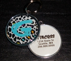 Personalized Pet ID Tag - Rainbow Leopard