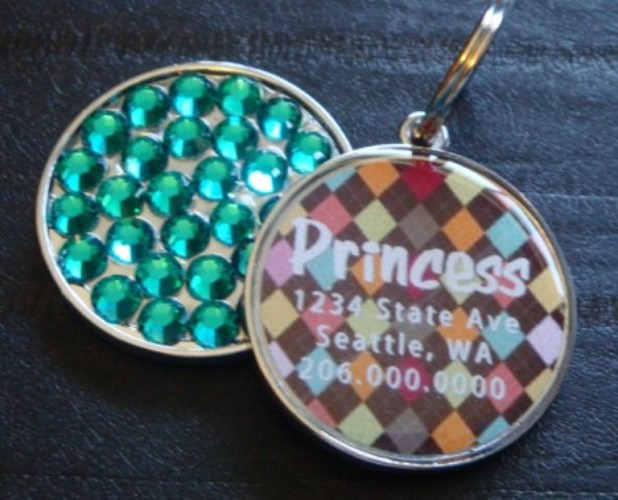 Personalized Pet Rhinestone  ID Tag - Argyle Brown - petel-argbrown