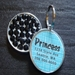 Personalized Pet Rhinestone  ID Tag - Blue Basketweave - petel-blubasket