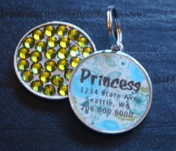 Personalized Pet Rhinestone  ID Tag - Blue & Green Floral