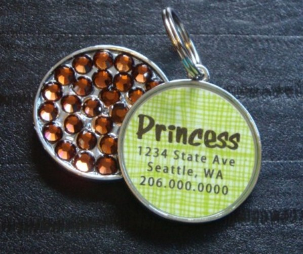 Personalized Pet Rhinestone  ID Tag - Green Basketweave - petel-grbasket