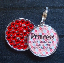 Personalized Pet Rhinestone  ID Tag - Mod Poppy