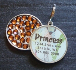 Personalized Pet Rhinestone  ID Tag - Mod Tree Apple