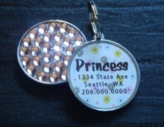 Personalized Pet Rhinestone  ID Tag - Pastel Poppies wooflink, susan lanci, dog clothes, small dog clothes, urban pup, pooch outfitters, dogo, hip doggie, doggie design, small dog dress, pet clotes, dog boutique. pet boutique, bloomingtails dog boutique, dog raincoat, dog rain coat, pet raincoat, dog shampoo, pet shampoo, dog bathrobe, pet bathrobe, dog carrier, small dog carrier, doggie couture, pet couture, dog football, dog toys, pet toys, dog clothes sale, pet clothes sale, shop local, pet store, dog store, dog chews, pet chews, worthy dog, dog bandana, pet bandana, dog halloween, pet halloween, dog holiday, pet holiday, dog teepee, custom dog clothes, pet pjs, dog pjs, pet pajamas, dog pajamas,dog sweater, pet sweater, dog hat, fabdog, fab dog, dog puffer coat, dog winter jacket, dog col