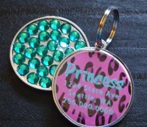 Personalized Pet Rhinestone  ID Tag - Pink Leopard wooflink, susan lanci, dog clothes, small dog clothes, urban pup, pooch outfitters, dogo, hip doggie, doggie design, small dog dress, pet clotes, dog boutique. pet boutique, bloomingtails dog boutique, dog raincoat, dog rain coat, pet raincoat, dog shampoo, pet shampoo, dog bathrobe, pet bathrobe, dog carrier, small dog carrier, doggie couture, pet couture, dog football, dog toys, pet toys, dog clothes sale, pet clothes sale, shop local, pet store, dog store, dog chews, pet chews, worthy dog, dog bandana, pet bandana, dog halloween, pet halloween, dog holiday, pet holiday, dog teepee, custom dog clothes, pet pjs, dog pjs, pet pajamas, dog pajamas,dog sweater, pet sweater, dog hat, fabdog, fab dog, dog puffer coat, dog winter jacket, dog col