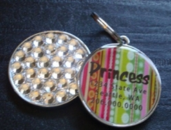 Personalized Pet Rhinestone  ID Tag - Poppy Stripe