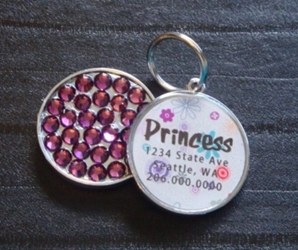 Personalized Pet Rhinestone  ID Tag - Purple Spring wooflink, susan lanci, dog clothes, small dog clothes, urban pup, pooch outfitters, dogo, hip doggie, doggie design, small dog dress, pet clotes, dog boutique. pet boutique, bloomingtails dog boutique, dog raincoat, dog rain coat, pet raincoat, dog shampoo, pet shampoo, dog bathrobe, pet bathrobe, dog carrier, small dog carrier, doggie couture, pet couture, dog football, dog toys, pet toys, dog clothes sale, pet clothes sale, shop local, pet store, dog store, dog chews, pet chews, worthy dog, dog bandana, pet bandana, dog halloween, pet halloween, dog holiday, pet holiday, dog teepee, custom dog clothes, pet pjs, dog pjs, pet pajamas, dog pajamas,dog sweater, pet sweater, dog hat, fabdog, fab dog, dog puffer coat, dog winter jacket, dog col
