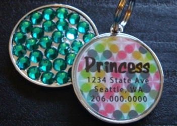 Personalized Pet Rhinestone  ID Tag - Retro Floral Dots wooflink, susan lanci, dog clothes, small dog clothes, urban pup, pooch outfitters, dogo, hip doggie, doggie design, small dog dress, pet clotes, dog boutique. pet boutique, bloomingtails dog boutique, dog raincoat, dog rain coat, pet raincoat, dog shampoo, pet shampoo, dog bathrobe, pet bathrobe, dog carrier, small dog carrier, doggie couture, pet couture, dog football, dog toys, pet toys, dog clothes sale, pet clothes sale, shop local, pet store, dog store, dog chews, pet chews, worthy dog, dog bandana, pet bandana, dog halloween, pet halloween, dog holiday, pet holiday, dog teepee, custom dog clothes, pet pjs, dog pjs, pet pajamas, dog pajamas,dog sweater, pet sweater, dog hat, fabdog, fab dog, dog puffer coat, dog winter jacket, dog col