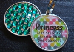 Personalized Pet Rhinestone  ID Tag - Retro Floral Dots