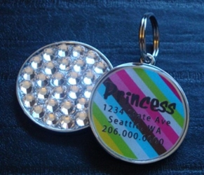 Personalized Pet Rhinestone  ID Tag - Retro Stripe wooflink, susan lanci, dog clothes, small dog clothes, urban pup, pooch outfitters, dogo, hip doggie, doggie design, small dog dress, pet clotes, dog boutique. pet boutique, bloomingtails dog boutique, dog raincoat, dog rain coat, pet raincoat, dog shampoo, pet shampoo, dog bathrobe, pet bathrobe, dog carrier, small dog carrier, doggie couture, pet couture, dog football, dog toys, pet toys, dog clothes sale, pet clothes sale, shop local, pet store, dog store, dog chews, pet chews, worthy dog, dog bandana, pet bandana, dog halloween, pet halloween, dog holiday, pet holiday, dog teepee, custom dog clothes, pet pjs, dog pjs, pet pajamas, dog pajamas,dog sweater, pet sweater, dog hat, fabdog, fab dog, dog puffer coat, dog winter jacket, dog col