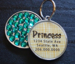 Personalized Pet Rhinestone  ID Tag - Yellow Basketweave wooflink, susan lanci, dog clothes, small dog clothes, urban pup, pooch outfitters, dogo, hip doggie, doggie design, small dog dress, pet clotes, dog boutique. pet boutique, bloomingtails dog boutique, dog raincoat, dog rain coat, pet raincoat, dog shampoo, pet shampoo, dog bathrobe, pet bathrobe, dog carrier, small dog carrier, doggie couture, pet couture, dog football, dog toys, pet toys, dog clothes sale, pet clothes sale, shop local, pet store, dog store, dog chews, pet chews, worthy dog, dog bandana, pet bandana, dog halloween, pet halloween, dog holiday, pet holiday, dog teepee, custom dog clothes, pet pjs, dog pjs, pet pajamas, dog pajamas,dog sweater, pet sweater, dog hat, fabdog, fab dog, dog puffer coat, dog winter jacket, dog col