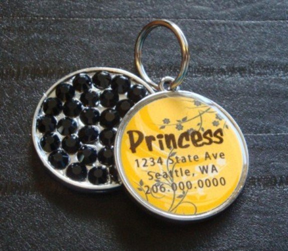Personalized Pet Rhinestone  ID Tag - Yellow Sprout - petel-yellows