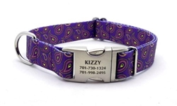 Personalized Purple Paisley Polyester Collar & Lead Roxy & Lulu, wooflink, susan lanci, dog clothes, small dog clothes, urban pup, pooch outfitters, dogo, hip doggie, doggie design, small dog dress, pet clotes, dog boutique. pet boutique, bloomingtails dog boutique, dog raincoat, dog rain coat, pet raincoat, dog shampoo, pet shampoo, dog bathrobe, pet bathrobe, dog carrier, small dog carrier, doggie couture, pet couture, dog football, dog toys, pet toys, dog clothes sale, pet clothes sale, shop local, pet store, dog store, dog chews, pet chews, worthy dog, dog bandana, pet bandana, dog halloween, pet halloween, dog holiday, pet holiday, dog teepee, custom dog clothes, pet pjs, dog pjs, pet pajamas, dog pajamas,dog sweater, pet sweater, dog hat, fabdog, fab dog, dog puffer coat, dog winter ja