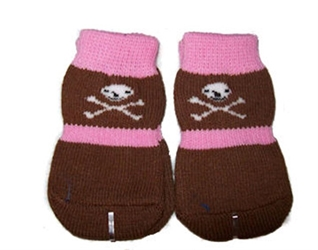 Pink & Brown Skull Dog Socks