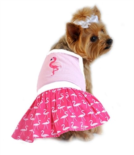 Pink Flamingo Dog Tank Dress - dogdes-flamingo-tankM-25V
