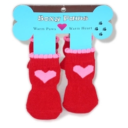 Pink Hearts on Red Soxy Paws -  Dog Socks