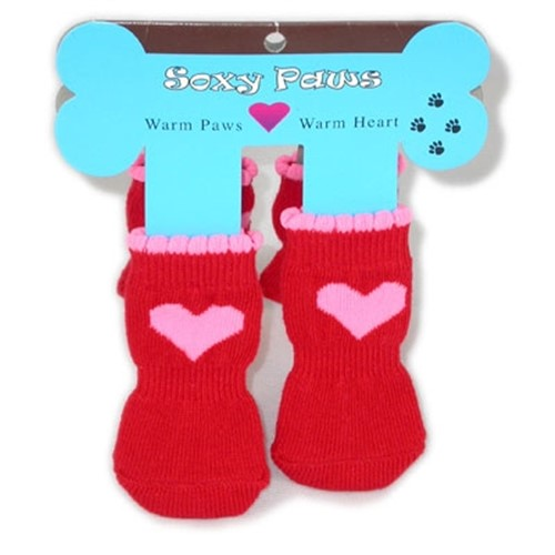 Pink Hearts on Red Soxy Paws -  Dog Socks - HGL-pinkheartsM-EXH