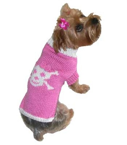 Pink Jolly Roger Dog Sweater  - dal-jolrog8-6X8