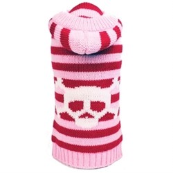 Pink Striped Skull Hooded  Sweater