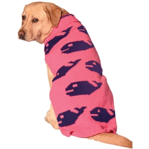 Pink Whales Dog Sweater      - cd-pink whales