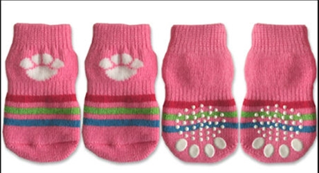 Pink & White Paw Print Dog Socks