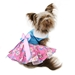 Pink and Blue Plumeria Floral Dog Dress with Matching Leash  - dogdes-pinkblue-dressX-JEL