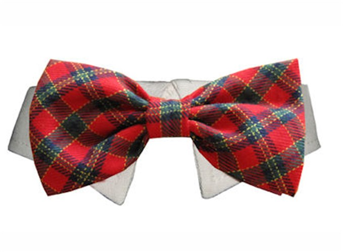 Plaid Christmas Shirt Collar & Bow Tie - po-xmas