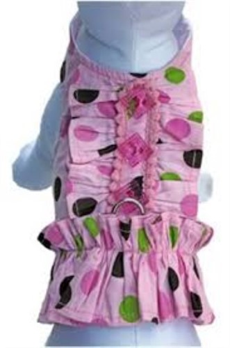 Polka Dot Fun Dog Harness Dress & Lead - ccc-polkadotL-WE4