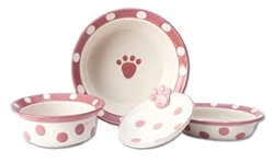 "Polka Paws Pink Dog Dish - 6"" Deep Only Our stoneware dog bowls are designed to look great and function even better."