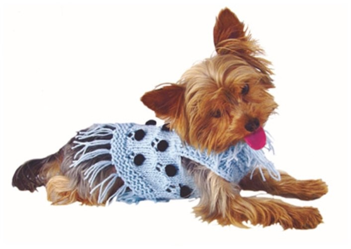 Pom Pom Dog Sweater in Pink or Blue - rrc-pompomB-NMS